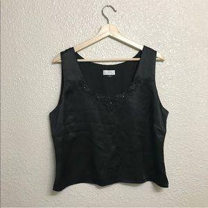 Tahari arthur s Levine 14 tank top blouse black